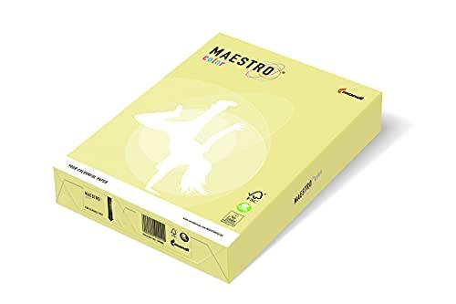 Maestro Color - Papel de color para impresión láser / inyección de tinta, formato A4, 160 g/m², paquete de 5 paquetes de 250 hojas, color amarillo pálido Cód. YE23