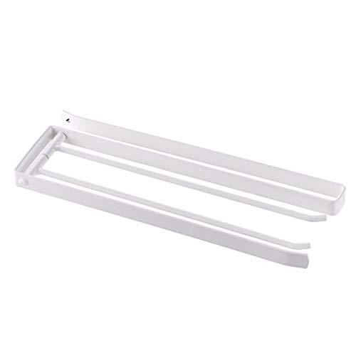 Toallero gabinete giratorio de hierro forjado baño barra de perforación barra para colgar barra de toalla blanco
