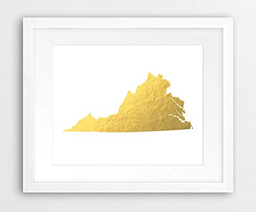 Virginia State Map Print USA Virginia Silhouette Gold Foil Texture Modern Wall Art Home Office Decor Printable Art Instant Downloaden Kunst