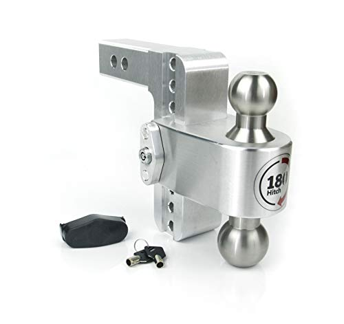 Weigh Safe LTB6-2, 6' Drop 180 Hitch w/ 2' Shank/Shaft, Adjustable Aluminum Trailer Hitch & Ball Mount, Stainless Steel Combo Ball (2' & 2-5/16') and a Double-pin Key Lock