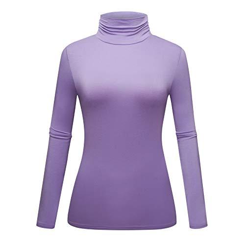 OThread & Co. Women's Long Sleeve Turtleneck T-Shirt Basic Stretch Layer Comfy High Neck Top (XX-Large, Light Purple)