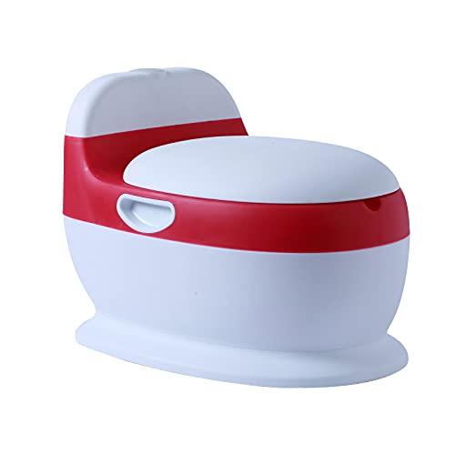 Voilamart Kinder Töpfchen Toilettentrainer Kindertopf Lerntöpfchen für Kleinkinder von 6 Monaten bis 3 Jahre Rot