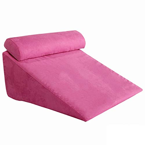 Bed Wedge Pillow Back,Adjustable Memory Foam Top 24 X 26 X 12 Inches Best for Sleeping, Reading, Rest Or Legs Elevation Breathable and Washable Cover -12 Inch Wedge, Gray (Color : Pink)