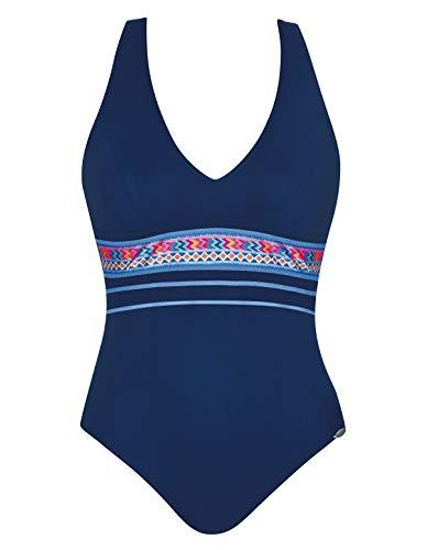 Sunflair 22060-3099 Vrouwen Tropische Droom Nacht Blauw Multi kleuren Zachte Beker Hoge Terug Badpak