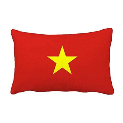 DIYthinker Werfen Vietnam National Flagge Asien Land Lumbar Kissen Kissenbezug Startseite Dekor-Geschenk 16 Zoll x 24 Zolls Mehrfarbig