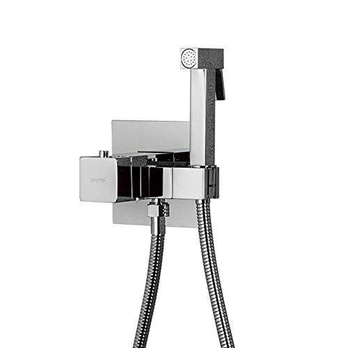 Grifo termostático para bidé, ducha higiénica de bidé de latón macizo, rociador de bidé de mano para inodoro, rociador de inodoro montado en la pared,Cromo