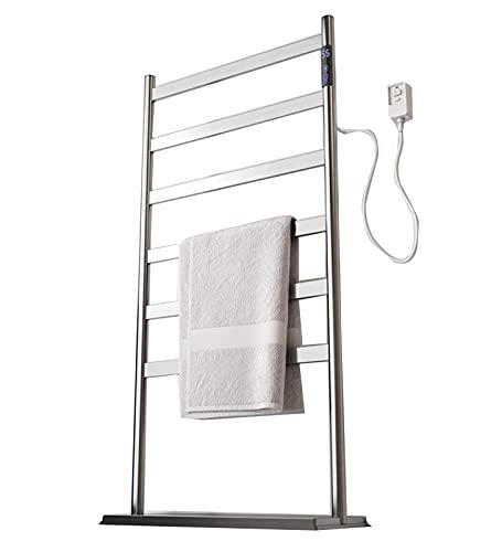 Toallero Eléctrico Calentador de toallas 6 bar independiente y montado en la pared Rack de secado con calefacción de aluminio Marco de aluminio Casa Cuarto de baño Espacio ahorro de acero inoxidable C