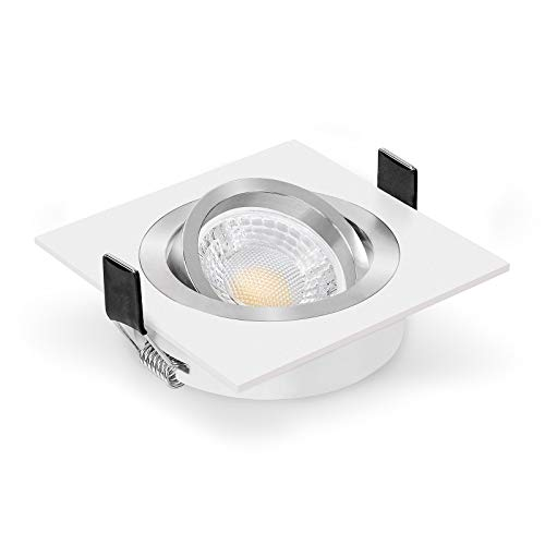 Ledox Led Einbaustrahler Set dimmbar & schwenkbar inkl. Bicolor Einbaurahmen weiß 230V 7W Leuchtmittel Gu10 3000K warmweiß - 60° Abstrahlwinkel - Deckeneinbaustrahler mit Ra>93 (5er Set)