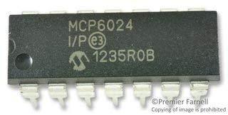 MCP6024-I/P-Operationsverstärker, Vierfach, 4 Verstärker, 14 MHz, 7 V/µs, 2.5V bis 5.5V, DIP, 14 Pin(s) (10 pieces)