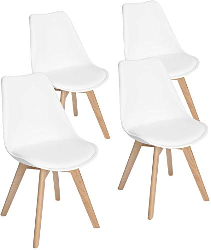 Made4Home Chaise scandinave Lot de 4 chaises de Salon, Assise rembourées (Blanc, 8)