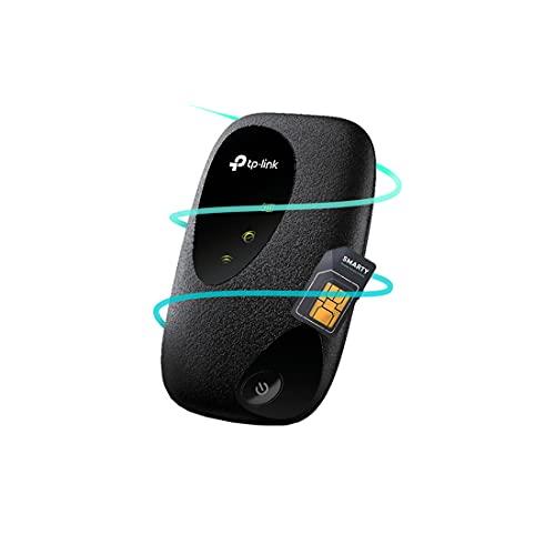 TP-LINK M7200, CAT 4, 4G LTE MiFi, tragbares WLAN für Reisen, 2000 mAh Akku für 8 Stunden Nutzung, Verwaltung mit tpMiFi-App, mit kostenloser Smarty-SIM-Karte, Schwarz