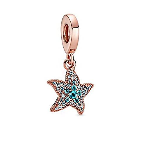 YYFHHK Verano 925 Plata Esterlina Brillante Estrella De Mar Abalorios Colgantes Se Ajustan A Pulseras Originales De 3Mm Joyería DIY para Mujer