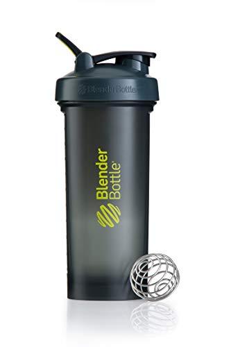 BlenderBottle Pro45 Shaker mit BlenderBall, optimal geeignet als Eiweiß Shaker, Protein Shaker, Wasserflasche, Trinkflasche, BPA frei, skaliert bis 1000 ml, Kapazität 1300ml, grau grün