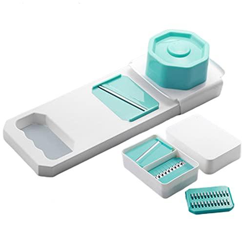 XIGU Mandoline Slicer Food Choppers, cortador de verduras multifuncional herramienta de corte de dices, cocina para el hogar hoja eficiente afilada antideslizante azul