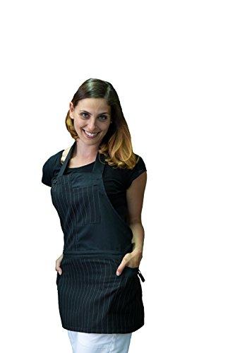 tessile astorino Bordado gratuito – Delantal de mujer de trabajo – Uniforme negra de yeso – para baranista, bar, camarera, restaurante, hotel, casa – Fabricado en Italia (Cuba)
