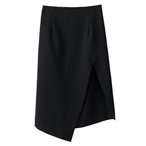 N\P Grande jupe pour femme Printemps et Automne Taille haute Jupe irrégulière A-line Jupe - Noir - 36
