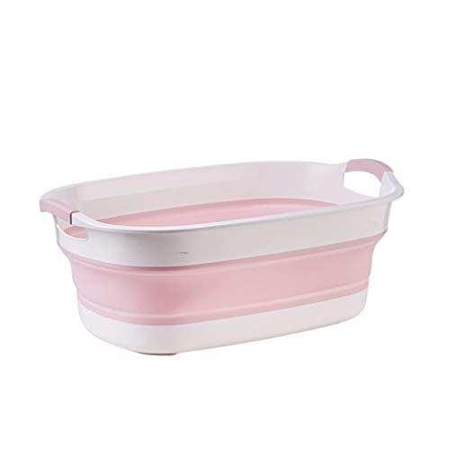 LIMUZI Folding bad, Big Capacity Tubs Bad Wassen Opslag Portable Pet Badkuip Badkamer Bucket Silicone Basket (Color : Pink)