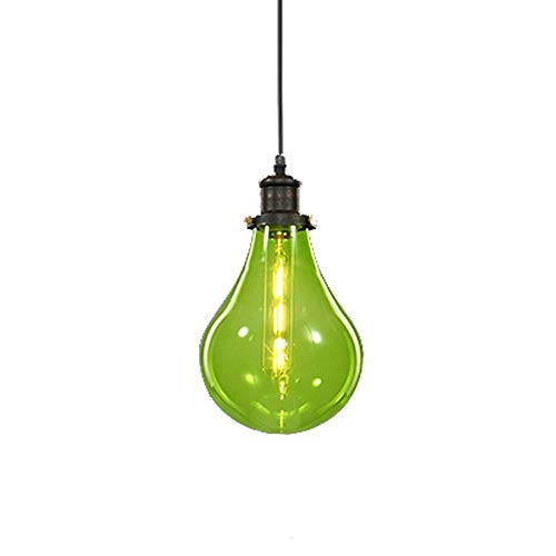 lampara colgante,Lámpara colgante de bricolaje industrial vintage con pantalla de vidrio colorido de 16 cm Pantalla E27 Lámpara de techo retro LOFT Suspensión Luz de gota de agua, verde