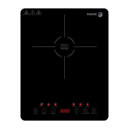 FAGOR - Placa de inducción portátil LEXIE. 2000W de potencia y diseño ultraslim. Pantalla tácil y 6 funciones. 9 niveles de calentamiento.