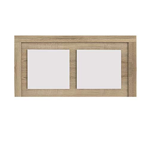 duehome Cabezal para Cama Individual, cabecero Modelo Lara, Color Cambria y Blanco, Medidas: 110 cm (Ancho) x 59 cm (Alto) x 3 cm (Fondo)