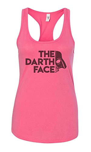 Funny Movie Lover Tank Tops The Darth Face Royaltee Womens Adult Vader Collection Hot Pink, Large
