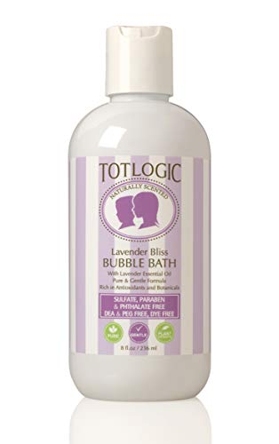 TotLogic Best Sulfate Free Bubble Bath, Kids & Baby Safe - 8 oz, with Calming Lavender, Natural, Gentle & Hypoallergenic, Rich in Antioxidants & Botanicals, No Parabens, No Phthalates, No Sulfates