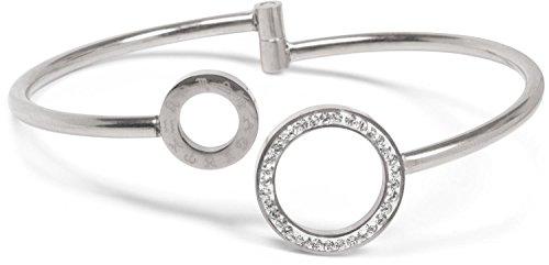 styleBREAKER armband met twee ringelementen met strass en sterrenbeeld gravure, klepsluiting armband, sieraden, dames 05040144