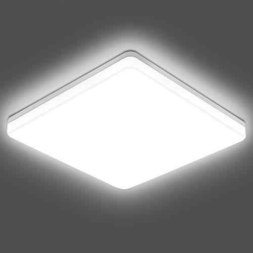 5000K LED Ceiling Light Flush Mount Light Fixtures, 11Inch 24W 2400LM Square Surface Mount Ceiling Lights, Modern Ceiling Lamp for Bathroom, Bedroom, Kitchen, Hallway, IP54 Waterproof, 200W Equivalent
