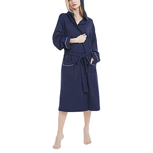 Camisón de manga larga para mujer de otoño y invierno, sencillo y natural, sin costuras, toalla de servicio al hogar, pijama (color: azul, tamaño: M)