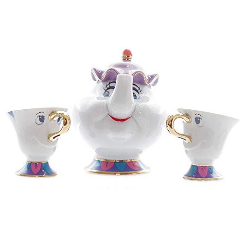 Taza de té con diseño de dibujos animados de la belleza y la bestia de la señora Potts Chip Tea Pot Cup un juego encantador regalo de Navidad rápido post nuevo grande de tres piezas Pot_*_1_+_Cup_*_2