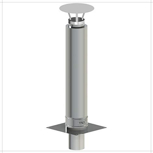 Kamin-Verlängerung 130mm 1m Länge Erhöhung Schornstein-Aufsatz 25mm Isolierung 0,5mm Materialstärke Erweiterung für gemauerten Schornstein Zugverbesserung