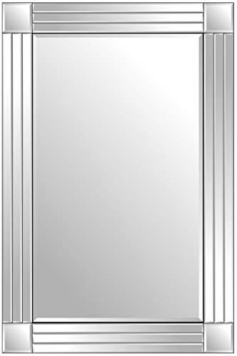 MirrorOutlet Espejo De Pared Veneciano De Plata Triple Biselado 91 Cm X 61 Cm