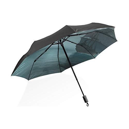 Regenschirm Frauen Piratenschiff Segeln in der Nähe eines gotischen Schlosses tragbare kompakte Taschenschirm Anti-UV-Schutz Winddicht Outdoor-Reisen Damenmode Regenschirm