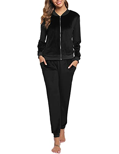 Akalnny Chándal Conjunto Mujer de Terciopelo Informal Pijamas Trajes Chaquetas de Manga Larga con Cremallera + Pantalones de Cintura Alta Negro
