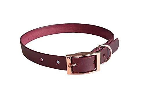 KLASSY K9 BURGUNDY SEDGWICK - Collar de perro hecho a mano, tamaño mediano, 40,6 a 50,8 cm, con accesorios de oro rosa