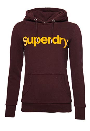Superdry Damen Core Hoodie mit beflocktem Logo Intensiv Burgunderrot 38