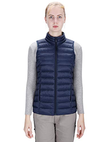 DISHANG Vest Jacket for Women Winter Puffer Vest Lightweight Outerwear with Pockets Casual Outdoor Sports Insulated Gilets (Navy Blue, XL)