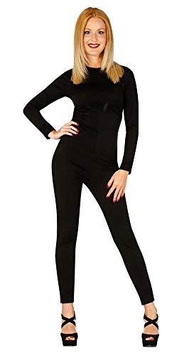 shoperama Basic Langarm Bodysuit für Damen-Kostüme Kostüm-Zubehör Ballett Tanz Catsuit Jumpsuit Overall Karneval Fasching, Farbe:Schwarz, Größe:S/M