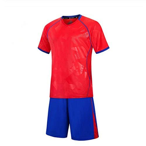 XIAOL Fußball 2018 Kinder Fußball Uniformen Männer Jungen Fußball Trikots Set Leere Fußballmannschaft Trainingsanzug Atmungsaktive Uniformen,Red-L