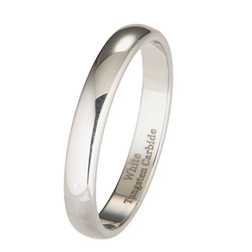 MJ Metals Jewelry 3mm White Tungsten Carbide Polished Classic Wedding Ring Size 5.5