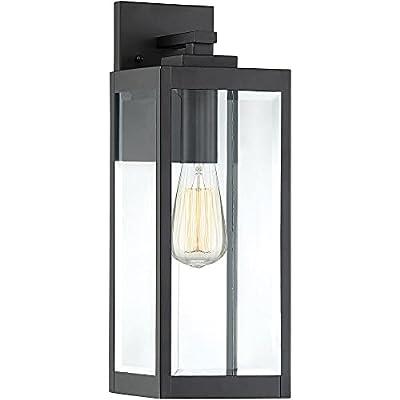 "Quoizel WVR8406EK Westover Modern Industrial Outdoor Wall Sconce Lighting, 1-Light, 100 Watt, Earth Black (17""H x 6""W)"
