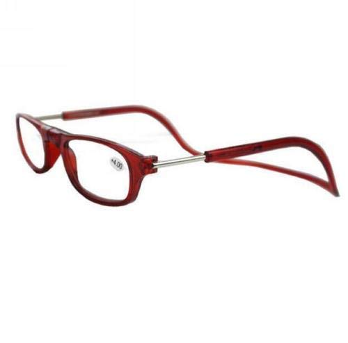 Opvouwbare magneet leesbril. Front Connect. Gebouwd in riem. Clic Top Kwaliteit (BLWINE ROOD ACK / +3.0)