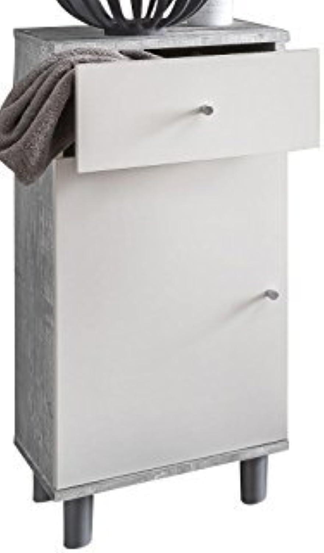 VCM Badschrank Midischrank Bad Badezimmer Regal Schrank Mbel Badregal Tobina 80 x 35 x 32 cm mit Schublade Beton Wei