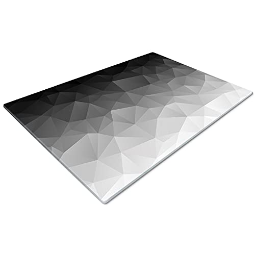 Glass Chopping Board 50 x 40   Kitchen Worktop Protector   Multifunctional Cutting Board   Work Top Savers   Kitchen Accessories   Extra Large   Geometric Black Grey
