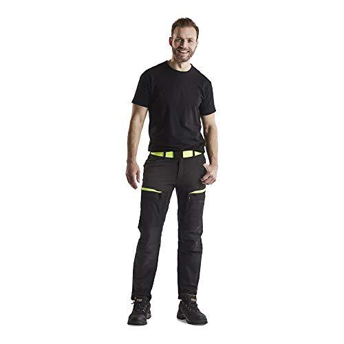 Blaklader 145618459933C152 Service Pantalones de trabajo elásticos, negro/amarillo, talla C152