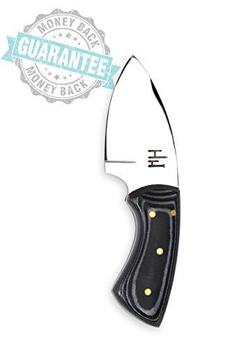 Hobby HH-903, jachtmes van 12,7 cm met schede, 01 koolstofstaal nekmes, campingmes, extra scherp, Micarta-handvat, lederen schede
