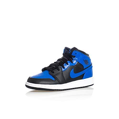 Nike Air Jordan 1 Mid (GS), Zapatillas de bsquetbol, Black Hyper Royal White, 38.5 EU