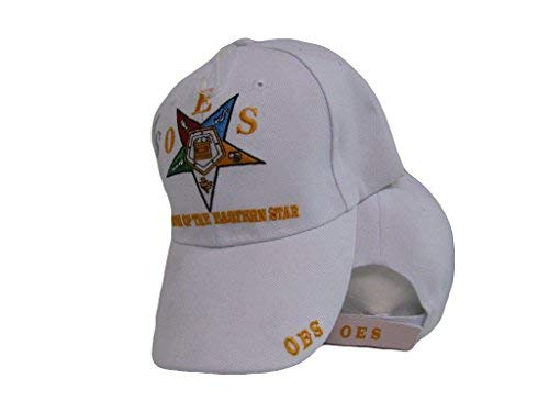 AES OES Order of The Eastern Star Mason Freemason White Embroidered Cap Hat
