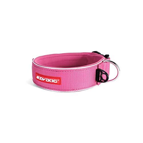 EzyDog Halsband Hund Breit, Breites Hundehalsband für Große Hunde - Neo Wide - Neopren Gepolstert, Reflektierend, Wasserfest (XL, Rosa)