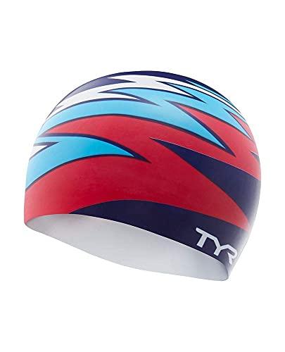TYR Zig Zag Bonnet de Bain en Silicone Rouge/Bleu/Blanc